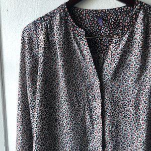 NYDJ Floral Button Front Long Sleeve Blouse PS